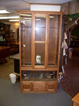 Oak Gun Cabinet with Pheasant Display