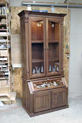 Walnut Gun Cabinet with Etched Glass