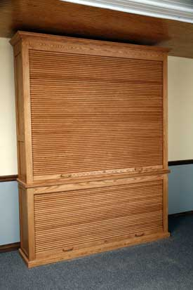 Both Roll Top Doors Closed on Oak Gun Cabinet