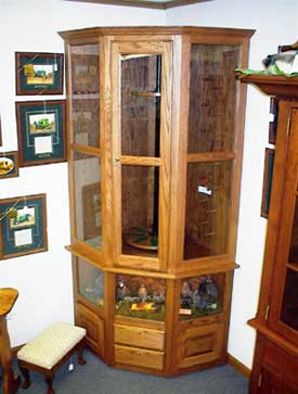 Oak Corner Gun Cabinet with Quail Display