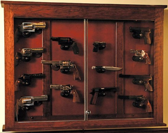 Custom Gun Cabinets And Gunsafes Wall Hanging Pistol Dispaly