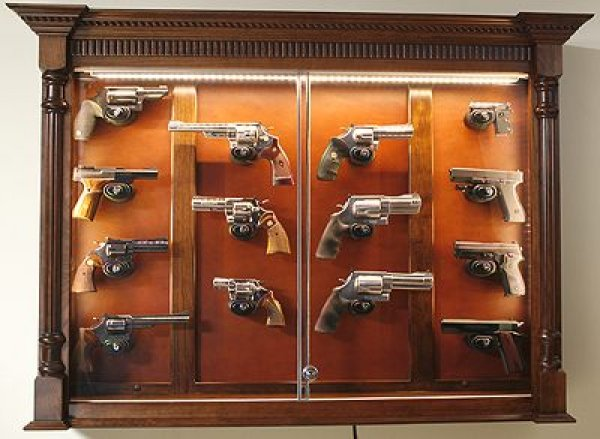 Custom Gun Cabinets And Gunsafes Wall Hanging Pistol Dispaly