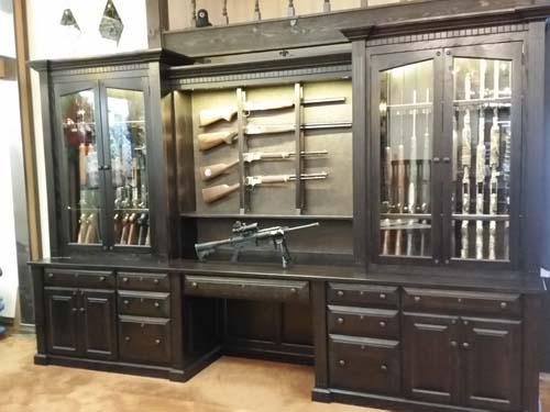 Wall Desk And Combination Gun Cabinetry Amish Custom Gun