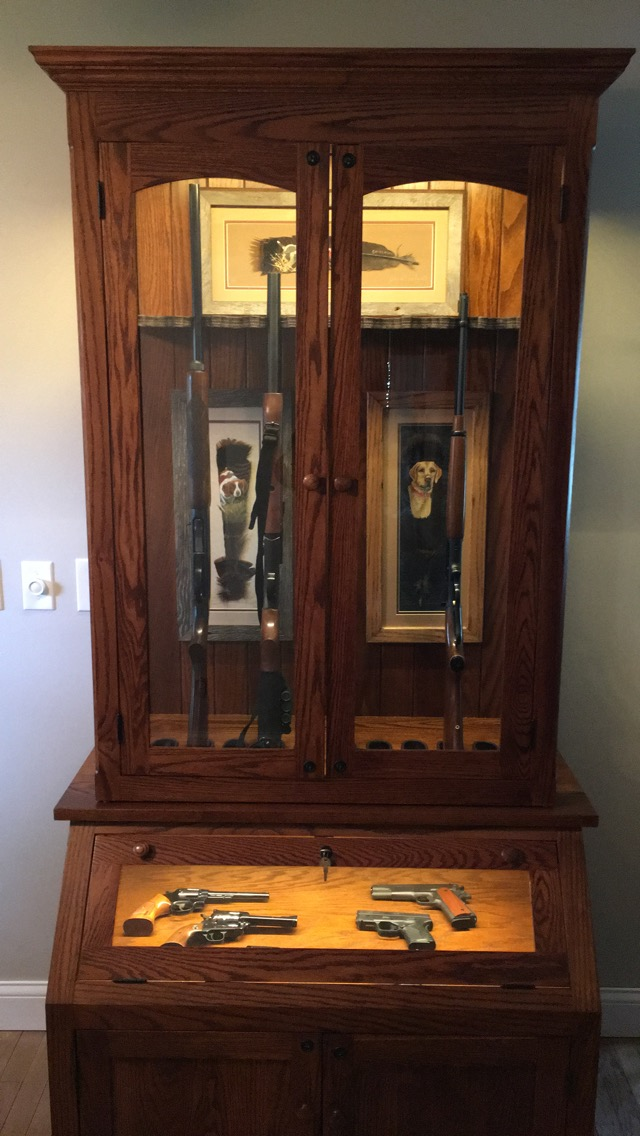 Schmidt 10 Gun Sloped Pistol Combo Cabinet 3d Amish