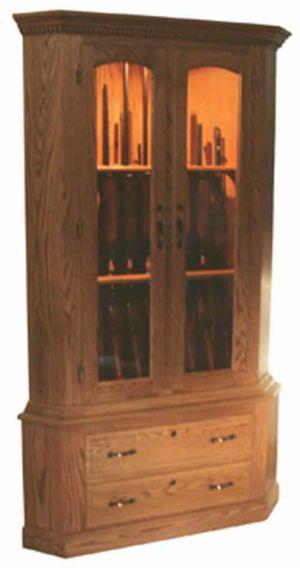 Amish-Furniture-2-drawer-corner-gun-cabinet