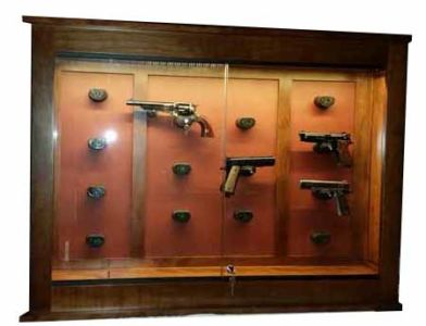 Mission pistol wall cabinet