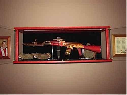 Amish Custom Crafted Ak 47 Display Amish Custom Gun Cabinets