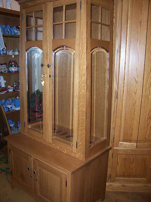 This Amish Custom Gun Cabinet Was Crafted For A Customer Out Of Solid  Quarter Sawn White Oak. The Gun Cabinet Doors Were Crafted With Mission  Style Arched ...