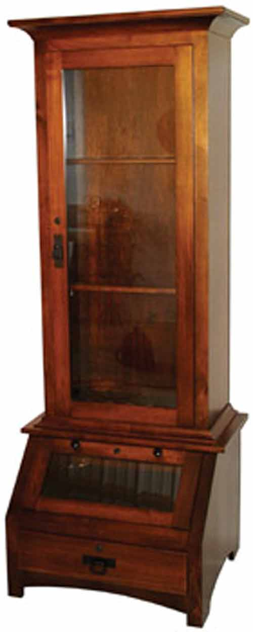 Bother the the top display area and the bottom display area on this gun  cabinet come standard with lighting. Lighting can be standard LED with  rocker switch ... - Amish Gun Cabinets In Standard Designs - Amish Custom Gun Cabinets