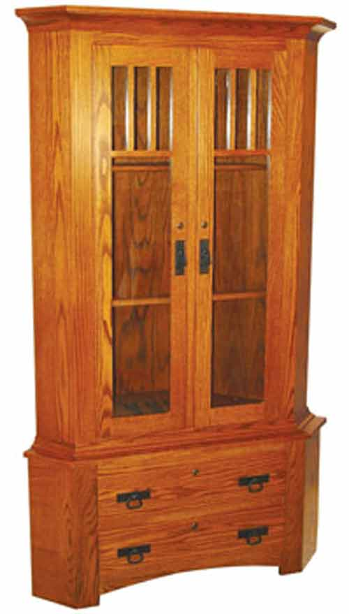 Solid oak shaker mission corner gun cabinet with double door top cabinet featuring shaker mission slat accents. The lower gun cabinet comes standard with ... & Amish Gun Cabinets in Standard Designs - Amish Custom Gun Cabinets