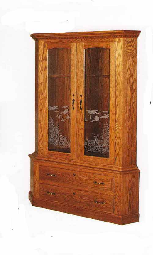 Genial Solid Oak Hardwood Corner Gun Cabinet With Etched Glass Front. We Offer A  Wide Array Of Etched Glass Designs From Ducking Hunting, To Lake Scenes, ...