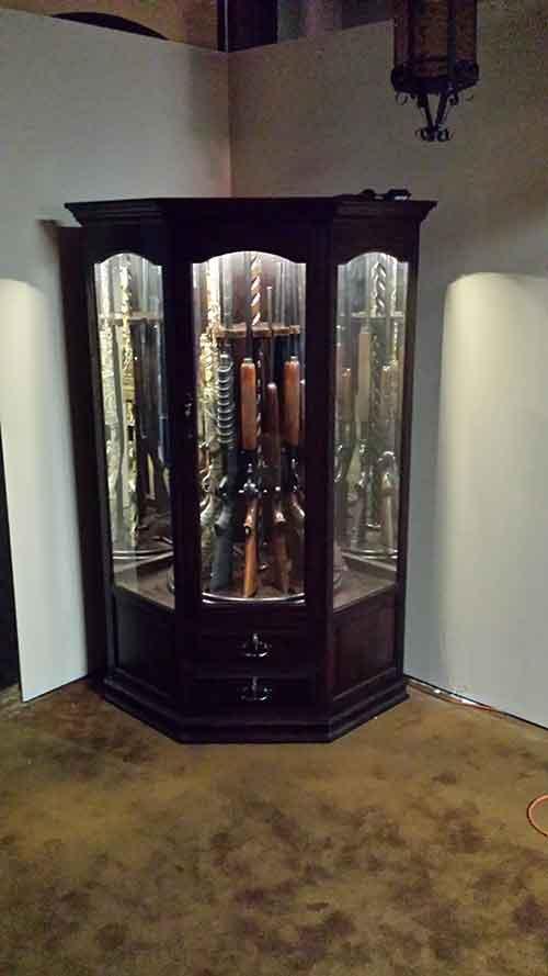 Gun Security Cabinet >> Custom Corner Gun Cabinet - Amish Custom Gun Cabinets