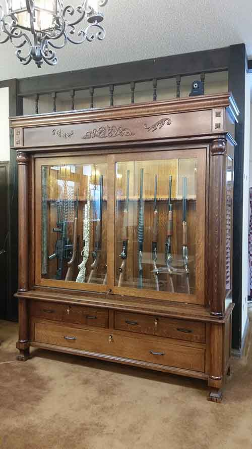 Amish Crafted Antique Reproduction Gun Cabinet Front - Amish Custom Antique Reproduction Gun Cabinet - Amish Custom Gun