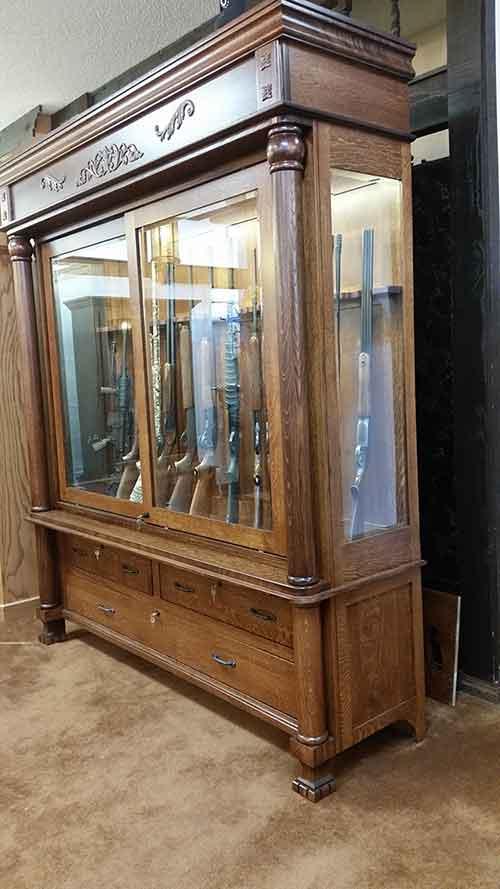 Antiwue Reproduction Gun Cabinet Side View - Amish Custom Antique Reproduction Gun Cabinet - Amish Custom Gun