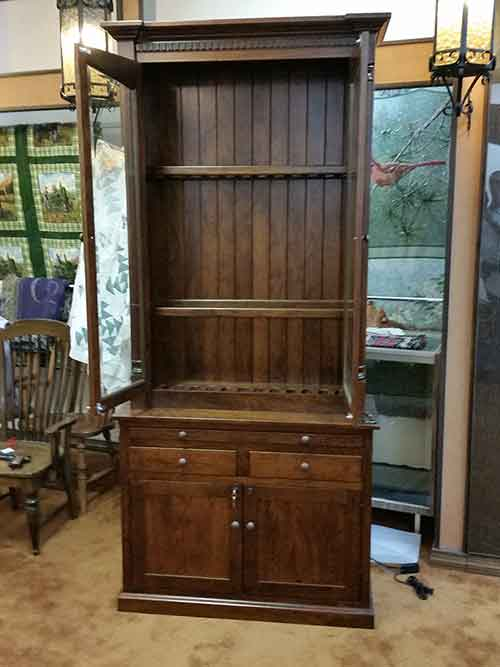 Amish custom gun cabinet with safe amish custom gun cabinets amish custom crafted walnut gun cabinet with dual locking steel bars locking front doors with laminated glass lockable gun cabinet base with gun safe planetlyrics Choice Image