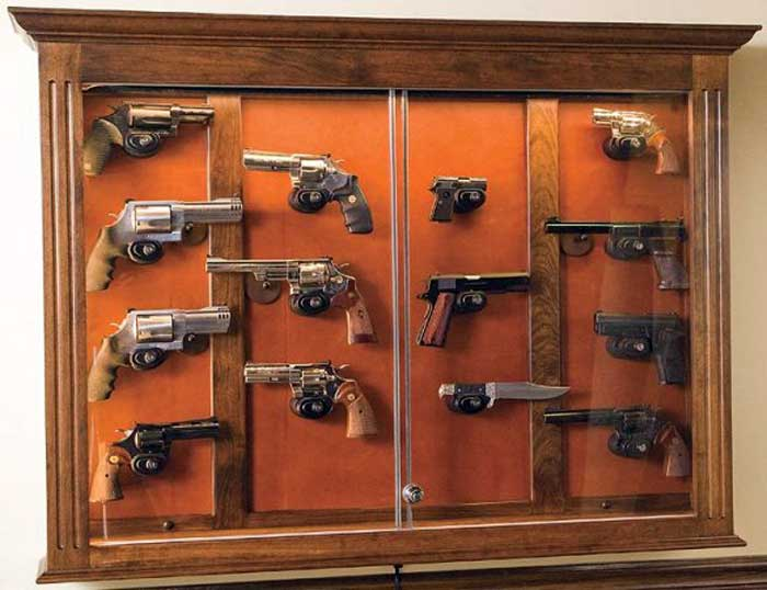 Amish Built Shaker Style Wall Pistol Cabinet and Barrel Rests ...