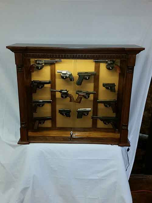 Amish Custom Rustic Cherry 14 Pistol Wall Cabinet Amish Custom Gun Cabinets